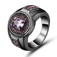Size 8 Pink Sapphire CZ Engagement Ring 10KT Black Gold Filled Women's Jewelry