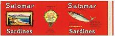 ORIGINAL TIN CAN LABEL SARDINE C1930 SALOMAR TERMINAL ISLAND MONTEREY ORIGINAL