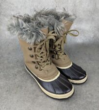 "JUICY COUTURE Women's 9 Sarabeth Winter Snow ""duck"" Boots Khaki brown GUC"
