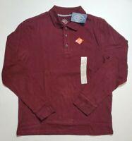 St Johns Bay Men's Burgundy Long Sleeve Legacy Polo Shirt S M L XL NWT FAST