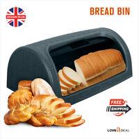 Roll Top Curved Plastic Bread Bin Retro Kitchen Food Storage Container Box Black