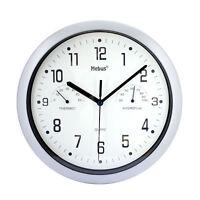 Wanduhr Mebus Ø26 cm Temperatur Hygrometer Büro Uhr Modern Quarz Küchenuhr Weiss
