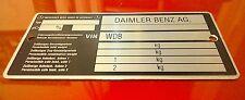 DAIMLER BENZ AG MERCEDES CHASSIS PLATE NEW 107 SL SLC 123 124 200 230 280 300TD