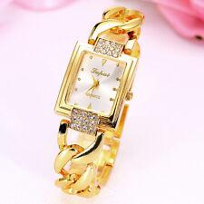 Nice Design Bracelet Stainless Steel Gold Crystal Rhinestone Quartz Wrist Watch