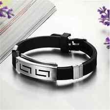 Punk Men Black Punk Stainless Steel Silicone Wristband Cuff Bangle Bracelet TR16