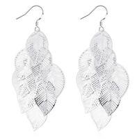18K White Gold Plated Chandelier Leaves Bali Hoop Pierced Earrings