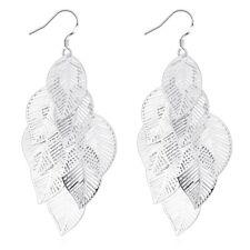 925 Sterling Silver Chandelier Leaves Bali Hoop Pierced Earrings