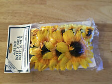 MINIATURE 12 SUNFLOWER HEADS, 4 LARGE AND 8 SMALLER W STICKY DOTS TO APPLY NOS