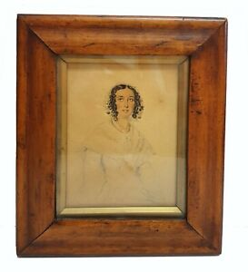 Antique 18th c. Small Watercolor Portrait of Woman in Original Wood Frame