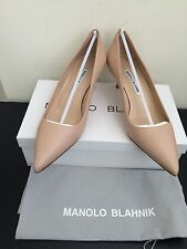 NIB $595 Manolo Blahnik BB 50 Leather Pumps Nude Size 7