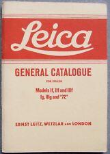 "LEITZ LEICA GENERAL CATALOGUE FOR 1955/58. HOVE REPRINT. MODELS 111f, 111g, ""72"""