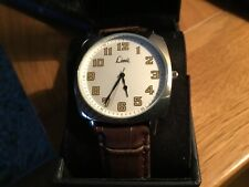 BNIB LIMIT Mens Large Face Silvertone Watch with Brown Strap 5526