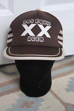 Vtg Dos Equis XX Beer Brown Adjustable Snapback Foam Mesh Trucker Hat