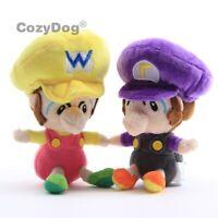 2Pcs Super Mario Bros Baby Waluigi Baby Wario Plush Doll Toy 5.5'' Kids Gift