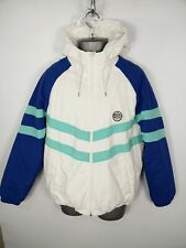 MENS PRIMARK WHITE/BLUE STRIPED ZIP UP PADDED FLEECE LINED HOODED COAT S SMALL