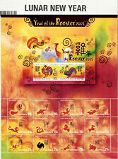 Christmas Island  Lunar New Year : Year Of The Rooster 2005 Sheetlet Mnh