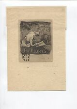 Ex libris by Hunter for Hewett  Pencil signed