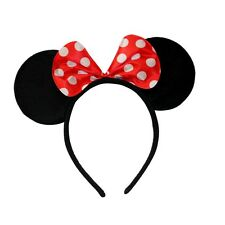 Red Spot Minnie Mouse Black Sparkly Ears Alice Hair Band Headband Fancy Dress