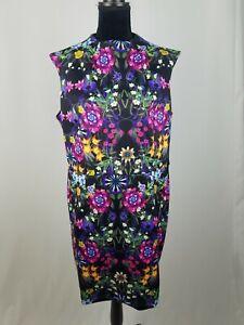 Asos women 14 scuba sleeveless sheath dress floral