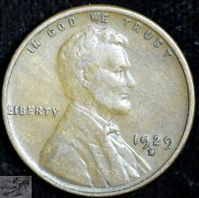 1929 D Lincoln Wheat Cent, Very Fine+ Condition, Free Shipping in USA, C3936