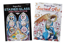 Stained Glass & Christian Biblical Sacred Art Bible Adult Coloring Book 2 Books
