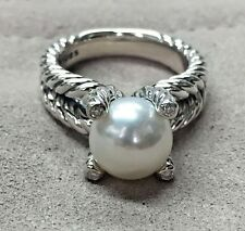 David Yurman Sterling Silver Cable Pearl Ring With Diamonds Size 6