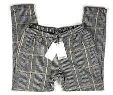 Pull&Bear NWT Women's Grey&Yellow Check Plaid Tapered Trousers Size M Used #F1