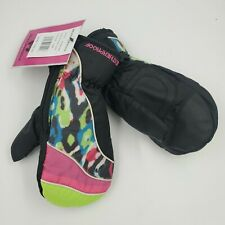 Weatherproof Girls Winter Gloves, One Size 7-16, Black, Lime, Snow B21 M