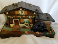 Wooden Jewelry Music Box VTG  Wind Up Wood Cottage Log Cabin House Working