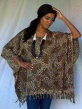 black brown poncho top batik animal-M L XL 1X 2X 3X zv794