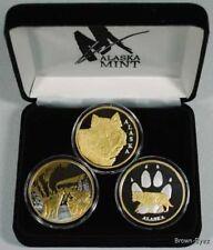 Alaska Mint 3 WOLF SET Gold & Silver Medallion Proof