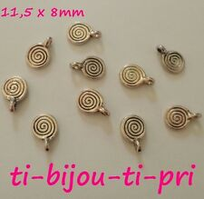 LOT de 20 PENDENTIFS perles breloques SPIRALES 11,5 x 8mm ARGENTE bijou sautoirs