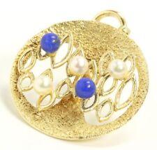♦Lapisanhänger in 585 14kt Gelb Gold Perlen Lapis Ketten Anhänger Perlenanhänger