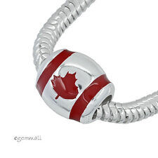 Sterling Silver Canadian Canada Flag Charm Bead Fit All European Bracelet #94044