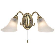 Endon Hardwick 2LT Lampe Murale 40W laiton ancien effet ASSIETTE & Verre Givré