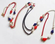 VINTAGE 1960'S BLUE WHITE & RED ENAMEL CHAIN GLASS BEADS BEADED LONG NECKLACE