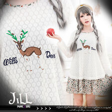 lolita japan forest kei vivi deer embroidery layered look shift dress【J2F7357】