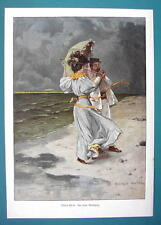 COUPLE on Beach Windy Weather Cigar Last Match - COLOR VICTORIAN Era Print