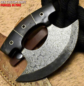 SFK Hand Forged Damascus Steel Walnut Wood Hunting Clever Chopper Axe Knife