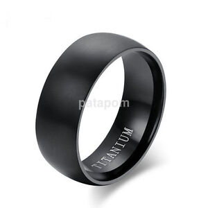 8mm Fashion Stainless Steel Band Men's/Women's Wedding Ring Black Size 8-11 hot