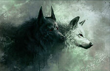 Large Framed Print - Black Wolf & White Wolf (Picture Poster Abstract Animal)