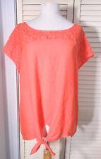 NWT Ladies CABLE & GAUGE Pullover TOP Blouse CORAL Lace Trim & Waist Tie LRG $50