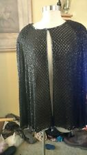 Vintage Black Silk Bead Beaded Sequin Lady Woman Top Jacket Papell Evening Wrap