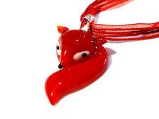 Bijou pâte de verre de Murano renard rouge sur cordon organza necklace