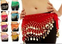 3 Row Belly Dance Hip Wrap Scarf Skirt Belt Dancing Costume with Gold Coins *bly