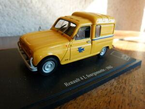 beau jouet miniature 1/43 Renault 4L fourgonnette  la poste 1962 sur socle
