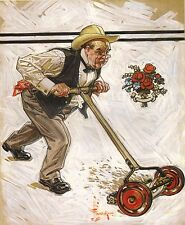 "J C LEYENDECKER BOOK PRINT ""MOWING A  LAWN"" MAN IN BOWTIE PUSHES NON-POWER MOWER"