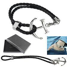 Men Unisex Stainless Steel Anchor Genuine Leather Bracelet Wristband Brown