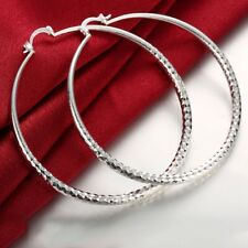 Womens 925 Sterling Silver Extra Large  Diamond-Cut Round Hoop Earring