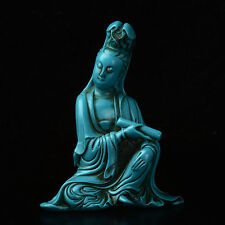 Collect China delicate Hand-carved Turquoise Guanyin Statue